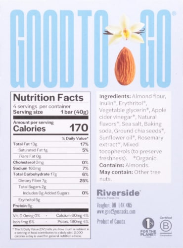 Good To Go Vanilla Almond Soft Baked Keto Snack Bars Perspective: back