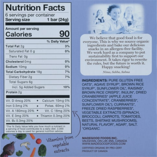MadeGood Organic Mixed Berry Granola Bars Perspective: back