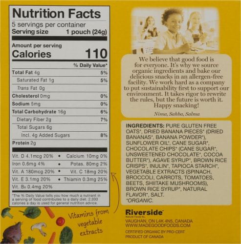 MadeGood® Gluten Free Chocolate Banana Granola Minis Perspective: back