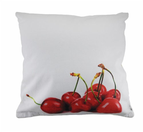 18 in. Cherries and Cherry Pie Decorative Throw Pillow Perspective: back