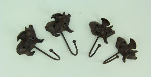 Set of 4 Flying Pig Rustic Finish Cast Iron Wall Hooks Perspective: back