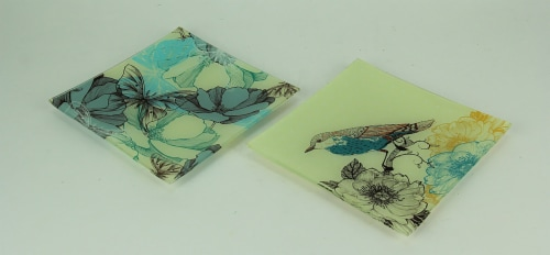 Set of 2 Nature's Poetry Painted Bird and Butterfly Square Glass Plates Perspective: back