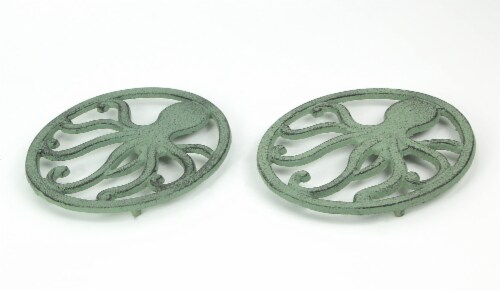 Distressed Aquamarine Coastal Cast Iron Octopus Sea Foam Green Trivet Set of 2 Perspective: back