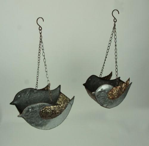 Set of 2 Galvanized Finish Embossed Hanging Metal Bird Planters Perspective: back
