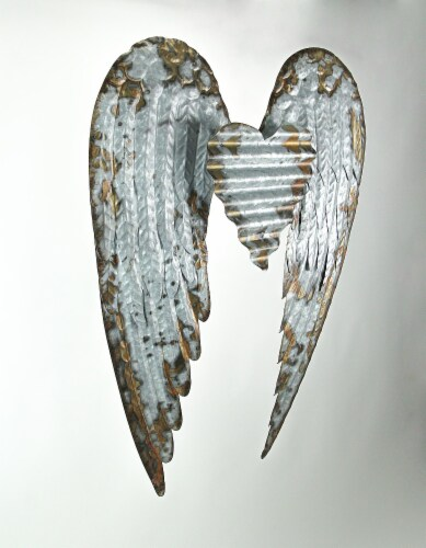 Galvanized Metal Winged Heart Wall Sculpture Perspective: back