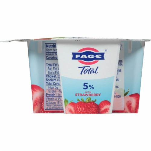 Fage Total 5% Milkfat Strawberry Greek Yogurt Perspective: back