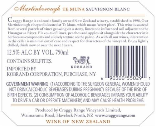 Craggy Range Sauvignon Blanc Perspective: back