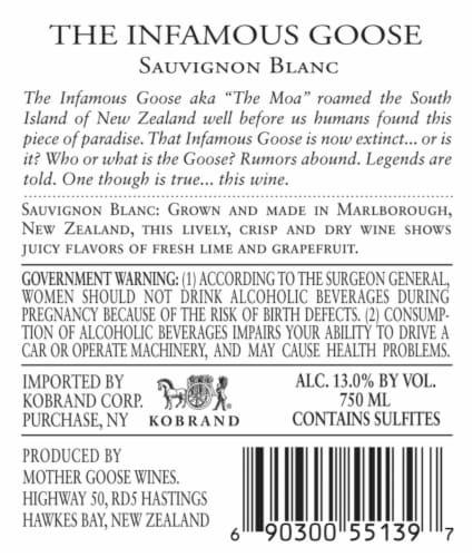 Infamous Goose Sauvignon Blanc Perspective: back