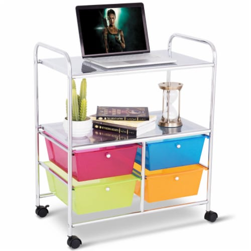 Costway 4 Multifunctional Drawers Rolling Storage Cart Rack Shelves Shelf Home Office Perspective: back