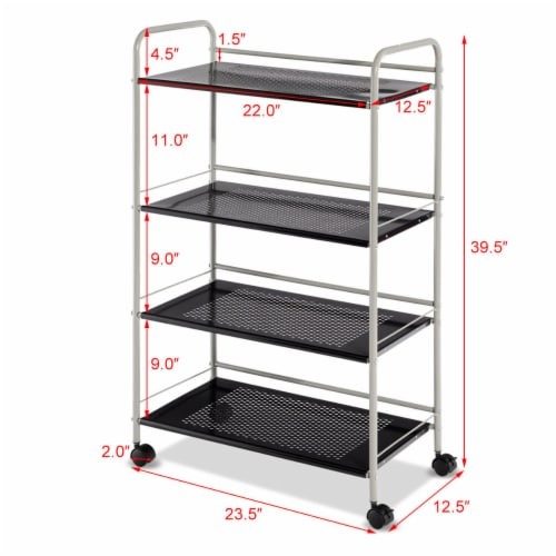 Costway 4 Tiers Rolling Storage Cart Utility Trolley Organizer Kitchen Multifunction Perspective: back
