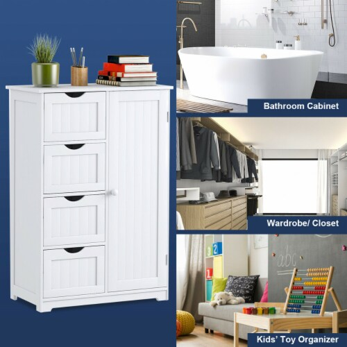 Costway Wooden 4 Drawer Bathroom Cabinet Storage Cupboard 2 Shelves Free Standing White Perspective: back