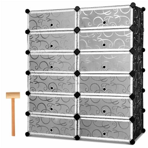 Costway 12 Cubic Portable Shoe Rack Shelf Cabinet Storage Closet Organizer Home Furni Perspective: back