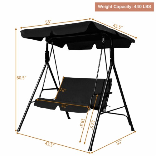 Costway Loveseat Patio Canopy Swing Glider Hammock Cushioned Steel Frame Outdoor Black Perspective: back