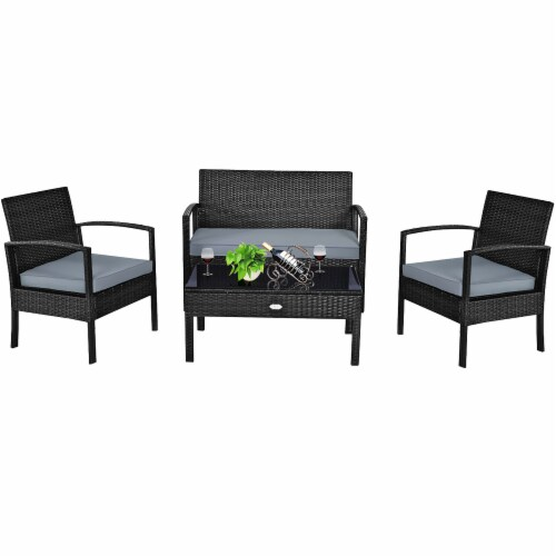 Costway 4PCS Outdoor Patio Rattan Furniture Set Cushioned Sofa Coffee Table Garden Deck Perspective: back