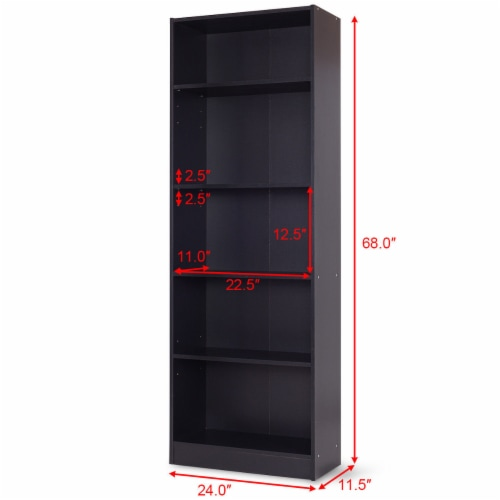Costway Modern 5 Tier Shelf Bookcase Storage Media Storage Organization Cabinet Black Perspective: back