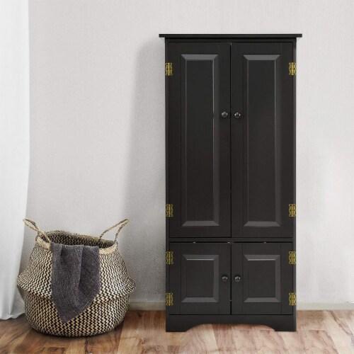 Costway Accent Storage Cabinet Adjustable Shelves Antique 2 Door Floor Cabinet Black Perspective: back