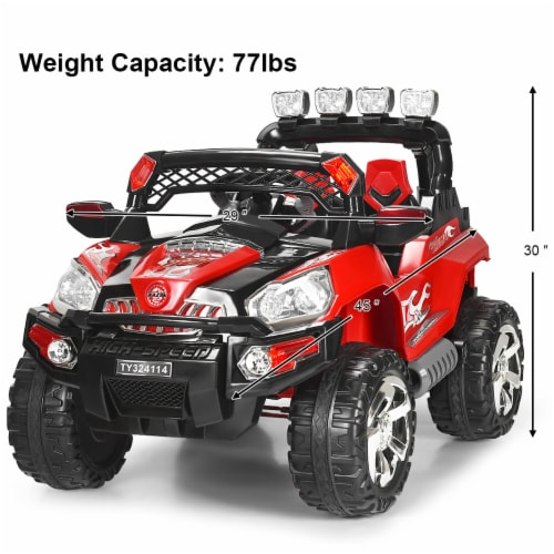 Costway 12V Kids Ride On Truck Car SUV MP3 RC Remote Control w/ LED Lights Music Perspective: back