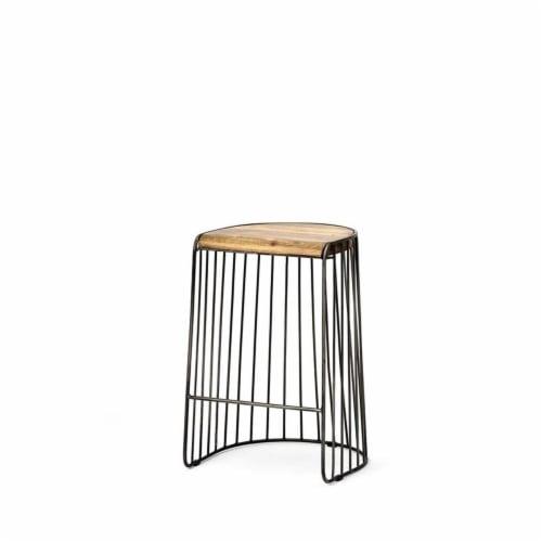 Merana Seagram 26.5  Seat Height Brown Wood Seat Black Metal Frame Stool Perspective: back