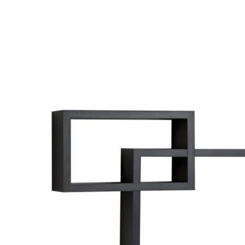 Saltoro Sherpi Intersecting Rectangle Shape Wooden Floating Wall Shelf, Black Perspective: back