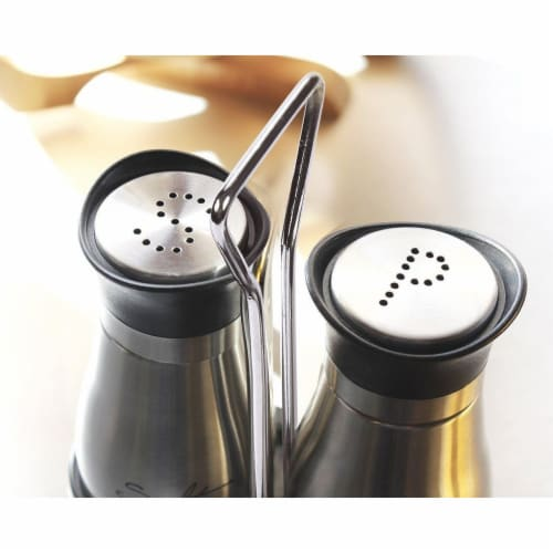 Stainless Steel Salt and Pepper Shakers Set with Glass Bottom and 4' Stand, 4 oz Perspective: back