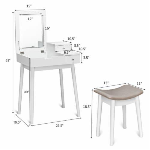 Costway Vanity Dressing Table Flip Desk Furniture Stool 2 White Perspective: back