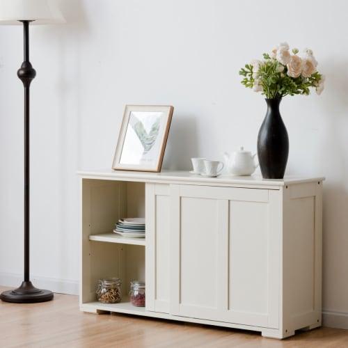 Costway Kitchen Storage Cabinet Sideboard Buffet Cupboard Wood Sliding Door Pantry Perspective: back