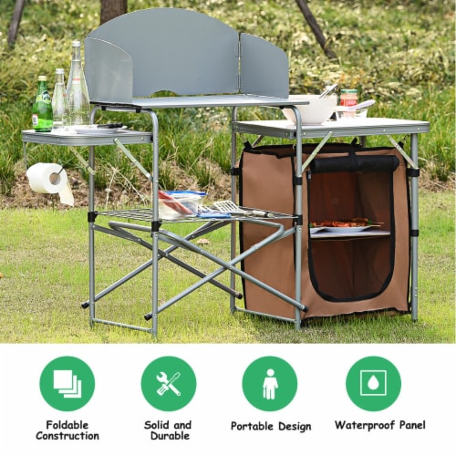 Costway Foldable Camping Table Outdoor BBQ Portable Grilling Stand w/Windscreen Bag Perspective: back