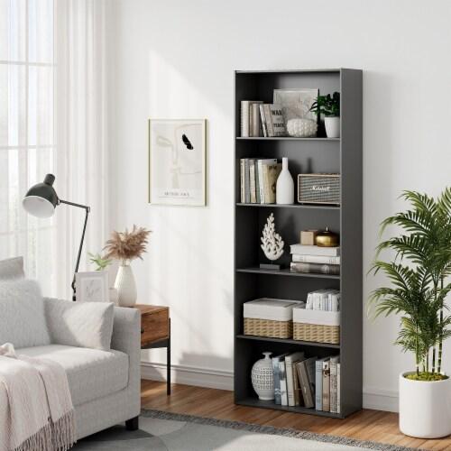 Costway 5-Shelf Storage Bookcase Modern Multi-Functional Display Cabinet Furniture Black Perspective: back