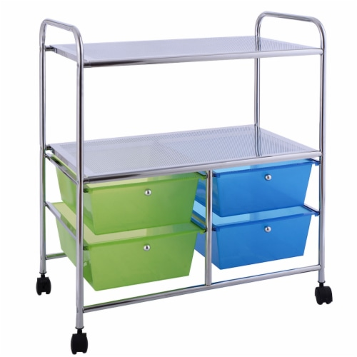 Gymax Rolling Storage Cart Metal Rack Shelf 4 Drawers Home Office Furniture Perspective: back