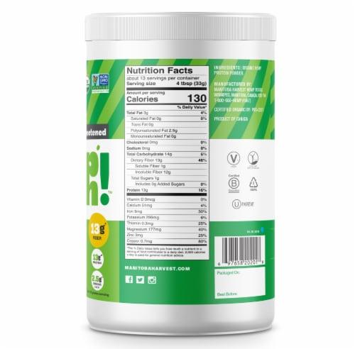 Manitoba Harvest Organic Hemp Pro Fiber Powder Supplement Perspective: back