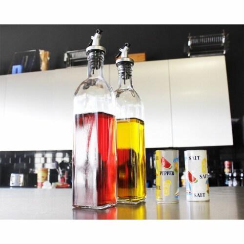 Juvale Olive Oil and Vinegar Glass Dispenser Set (17 Ounce) Perspective: back