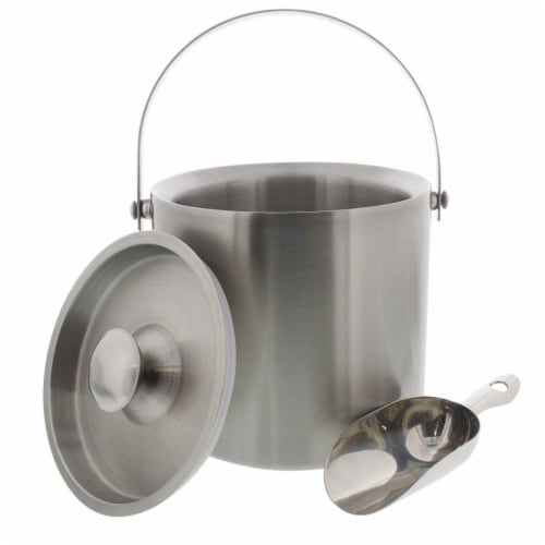 Insulated Stainless Steel Ice Bucket with Scoop, Lid and Handle (6.6 x 7.5 in) Perspective: back