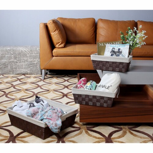 3-Piece Woven Storage Baskets,  Brown and Beige, Small, Medium, and Large Perspective: back