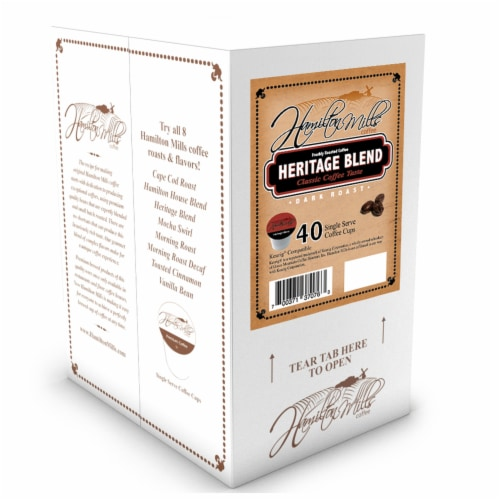 Hamilton Mills Heritage Blend Coffee Pods, 2.0 Keurig K-Cup Brewer Compatible, 40 Count Perspective: back