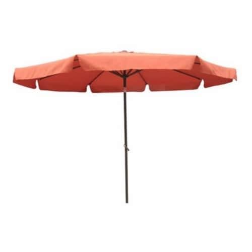 International Caravan 10' Patio Umbrella with Tilt and Crank in Terra Cotta Perspective: back