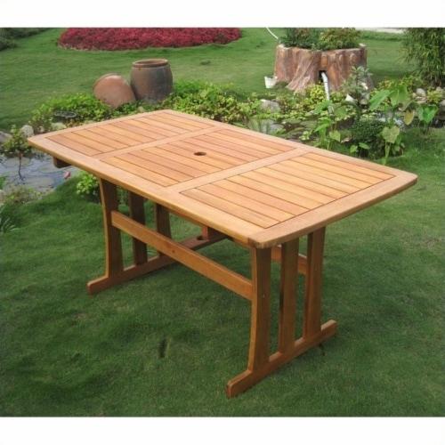 International Caravan Royal Tahiti Rectangular Outdoor Patio Dining Table Perspective: back
