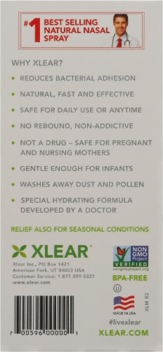 Xlear Natural Saline Daily Relief Nasal Spray Perspective: back