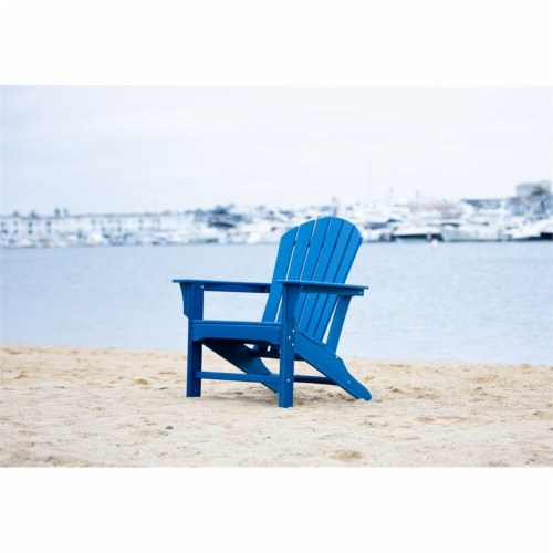 Hampton Navy Poly Outdoor Patio Adirondack Chair Perspective: back