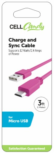 CELLCandy USB-to-Micro USB Charge and Sync Cable - Shocking Pink Perspective: back
