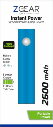 ZGear Instant Power 2600mAh Power Bank - Blue Perspective: back