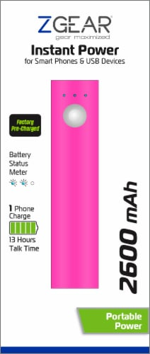 ZGear Instant Power 2600 mAh Portable Charger - Pink Perspective: back