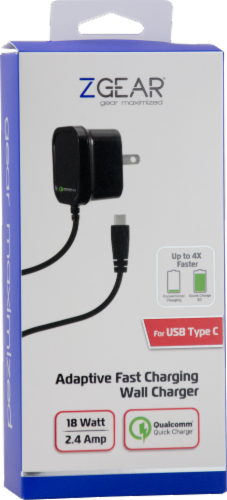 ZGear Quick Charge USB-C Wall Charger - Black Perspective: back