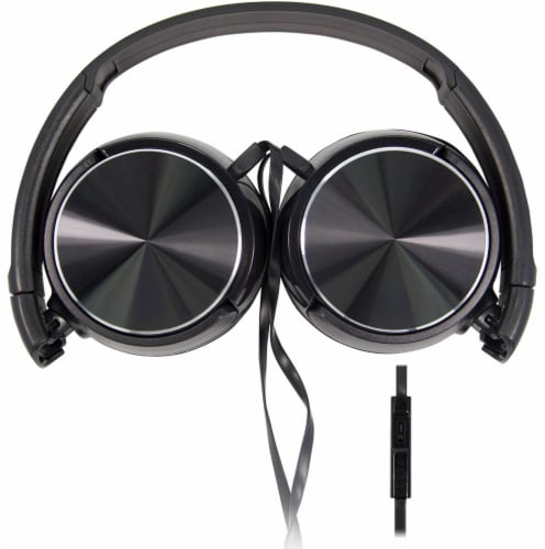 Acoustix Stereo Headphones with Microphone - Black Perspective: back