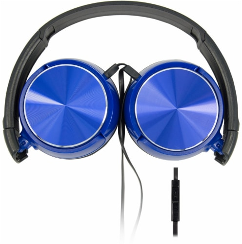 Acoustix Stereo Headphones with Microphone - Blue Perspective: back