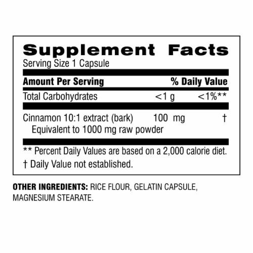 Botanic Choice  Cinnamon 1000 mg. Blood Sugar Herbal Supplement Perspective: back