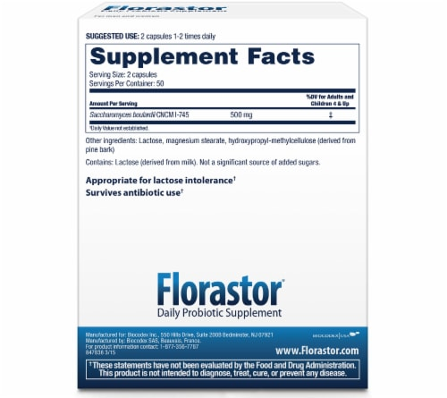 Florastor® Daily Probiotic Supplement Capsules 250mg Perspective: back