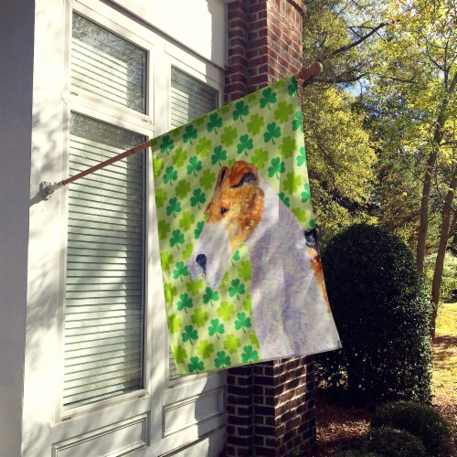 Carolines Treasures  SS4409-FLAG-PARENT Fox Terrier St. Patrick's Day Shamrock P Perspective: back