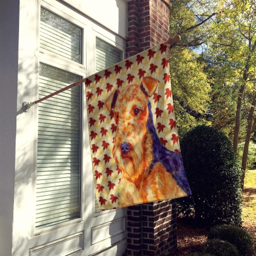 Carolines Treasures  LH9111CHF Airedale Fall Leaves Portrait Flag Canvas House S Perspective: back