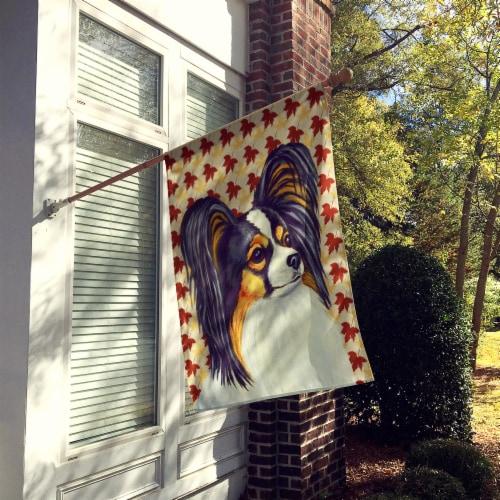 Carolines Treasures  LH9120-FLAG-PARENT Papillon Fall Leaves Portrait Flag Perspective: back