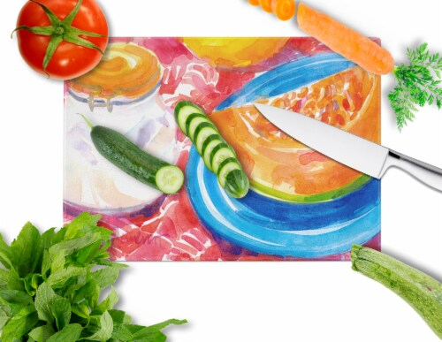 Carolines Treasures  6036LCB A Slice of Cantelope  Glass Cutting Board Large Perspective: back